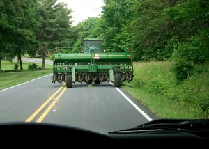 farm equipment on road