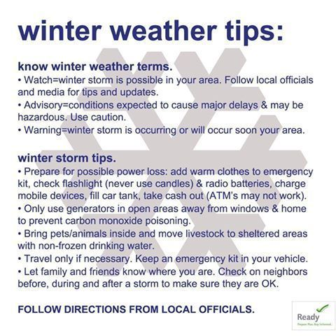 Prepare for severe weather with winter weather tips. This graphic image is part of the Winter Weather Safety Graphics collection.